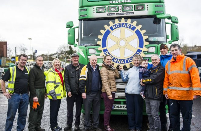 Pictured following the loading of bikes for Africa onto Martin Boyle's haulage truck are members of Letterkenny Rotary Club, with staff from Bryson Recycling and Donegal County Council.