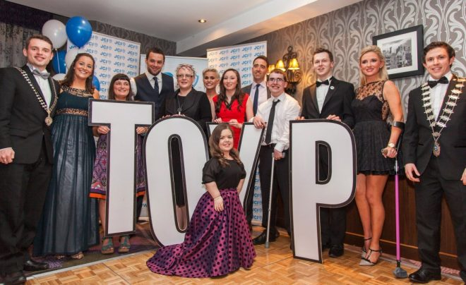 Last year's national TOYP winners, including Nikki Bradley and Seamus McGrory.