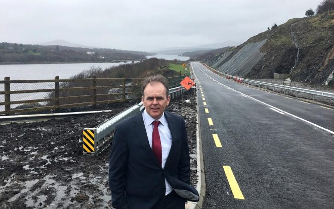 Minister Joe McHugh at the completed section of the N56 at Kilkenny (Gweebarra).