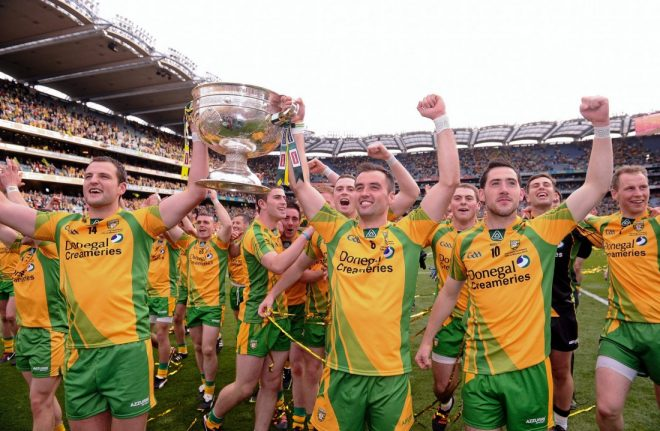 Michael Murphy and Karl Lacey lift the Sam Maguire Cup