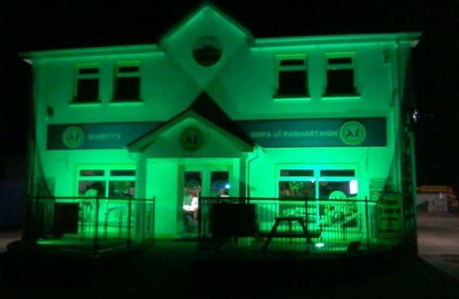 Roarty's Shop and Garage in Gaoth Dobhair all set for the St Patrick's Day celebrations.