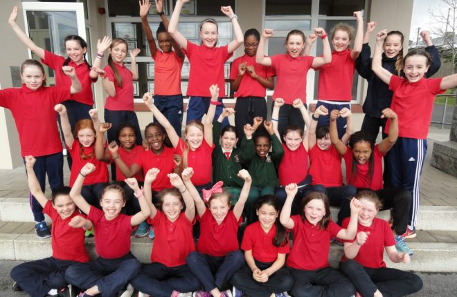 Scoil Mhuire pupils celebrate another success.