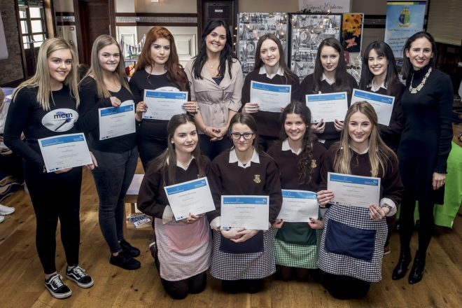Students from Loreto Convent in Letterkenny who participated in the 2017 Student Enterprise Programme, pictured at the finals in the Silver Tassie.