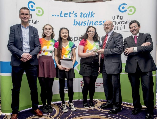 Students from Colourbox, St. Columba's, Stranorlar receive their overall prize from Michael Tunney, Head of Enterprise in Donegal. Included in the photo are councillor John Ryan and John McNamara from Sendmode who were among the judges on the day.