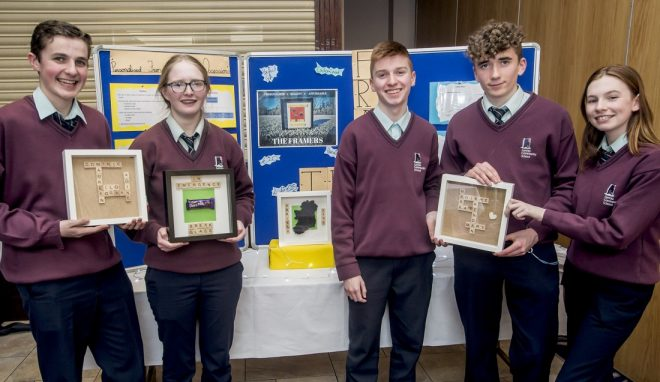 Students from Loreto School in Milford showcase their business at the recent finals of the Donegal Student Enterprise Programme.