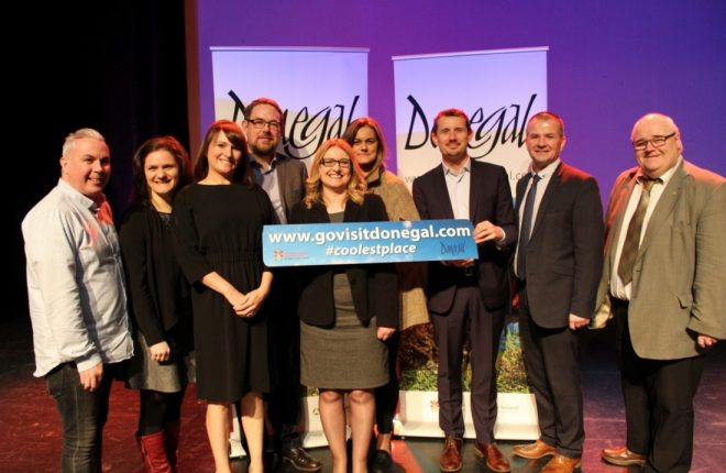 The Donegal Tourism team with expert speakers at the Donegal Tourism Spring Seminar held in An Grianan Theatre. Among those pictured are Shane Smyth, Iga Lawne, Sarah Meehan, Brian Harte, Maire Aine Gardiner, Niamh Taylor, Pól Ó Conghaile, Liam Ward and Barney McLaughlin.