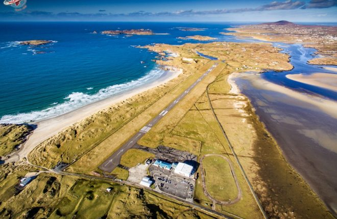 The stunning view as you drop down on to the Wild Atlantic Way at Donegal Airport.