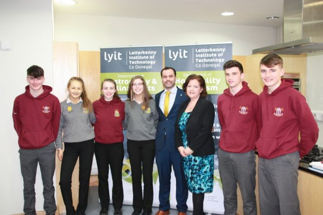 Studens from Abbey Vocational School and St Columba's College, Stranorlar, pictured with Patrice Duffy and Sean Carney from LYIT.