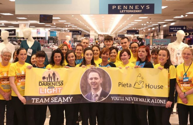 Some of the staff at Penney's Letterkenny who are going to complete the Pieta House, Darkness into Light 5k walk on Saturday morning in memory of their colleague Seamy Peoples. Photo: Donna El Assaad
