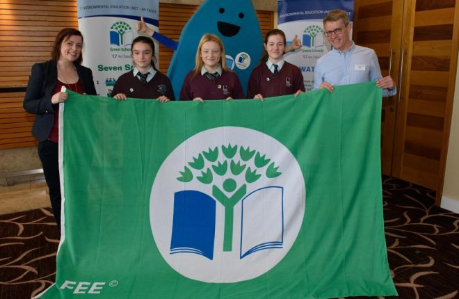 Students from Loreto Community School in Milford collecting their Green Flag.