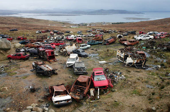 Carmageddon, Arranmore Island in 2007, an award winning piture by Declan Doherty. Now Tory Island are having a similar problem with abandoned cars.