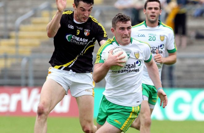 Patrick McBrearty in action against Niall McKeever when the sides last met in 2014