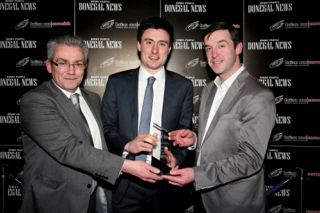 Sports Personality of the Year ,Mark English, receives his award from Brian McCormick (sponsor) and Columba Gill, Donegal News editor.