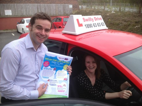Karl Sweeney of Swilly Group talks Alison McMonagle of Home Instead through the do's and don'ts of the Letterkenny Best at the Driving Test competition to be held during Swilly Group's Relay for Life fun day being held on Friday 10th May at the i:Tek Building on Business Park Road, Letterkenny.
