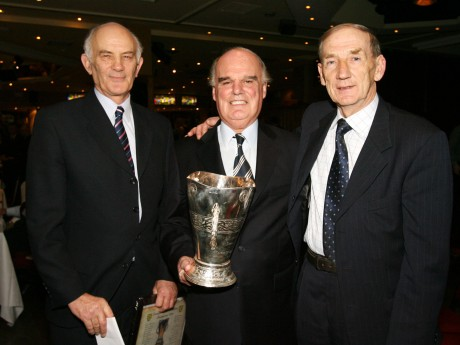 Former players Sean Ferriter, Mick McGinley and John Hannigan (RIP) with the 1956 Minor All-Ireland winning Cup. Photo: Donna McBride
