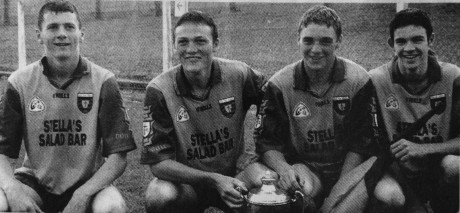 Colm McFadden (second from left) with fellow St Michael's men Christy Toye, Shane McHugh and Gerard Gallagher as part of the 1999 Ted Webb Cup-winning Donegal team