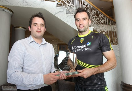 Chris McNulty, Donegal News presents Karl Lacey with the May 2014 Donegal News Sports Personality of the Month Award, in association with Brian McCormick Sports & Leisure. Photo: Donna El Assaad