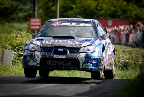 Donegal's Declan and Brian Boyle in their Subaru on the Donegal rally at the Weekend. Photo; Cristeph/Brian McDaid