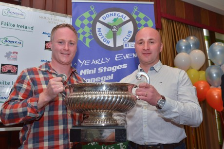 Brian Boyle and Declan Boyle winners with the Jim Kennedy Cup at the Donegal International Rally prize giving on Sunday.  Photo: Clive Wasson.