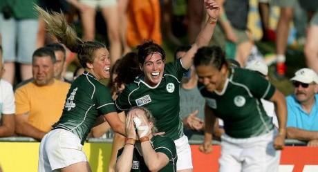 Nora Stapleton celebrates as Ireland defeat New Zealand.