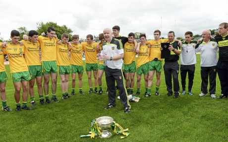 Declan Bonner, Donegal minor manager with his players after the Ulster final.   Picture credit: Oliver McVeigh / SPORTSFILE