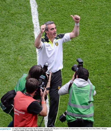 Donegal manager Jim McGuinness celebrates after the win over Dublin