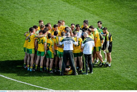 The Donegal team in a huddle before the All-Ireland semi-final against Dublin