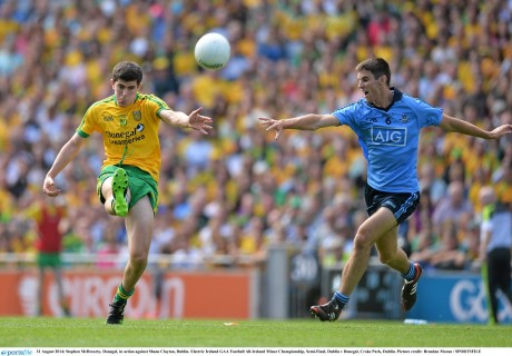 Stephen McBrearty on the attack for Donegal minors against Dublin.