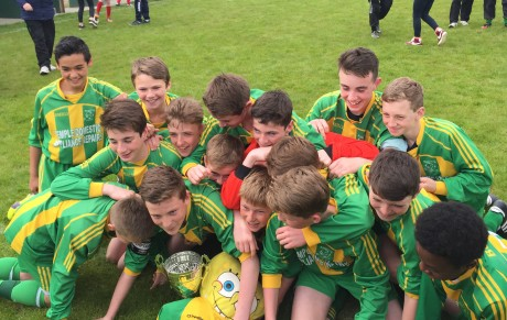 Bonagee United players celebrate their win over Cappry Rovers
