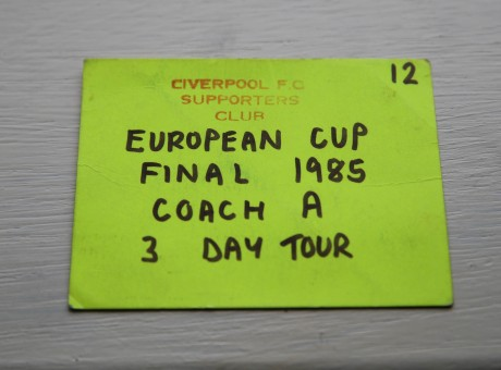 Kevin's coach pass issued by the Liverpool FC Supporters Club.