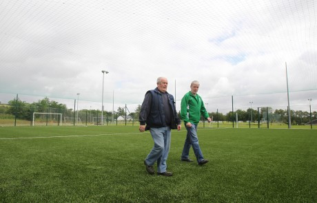 Willie Boyle and John Cannon, Drumkeen FC at the new astro turf pitch. Photo: Donna El Assaad