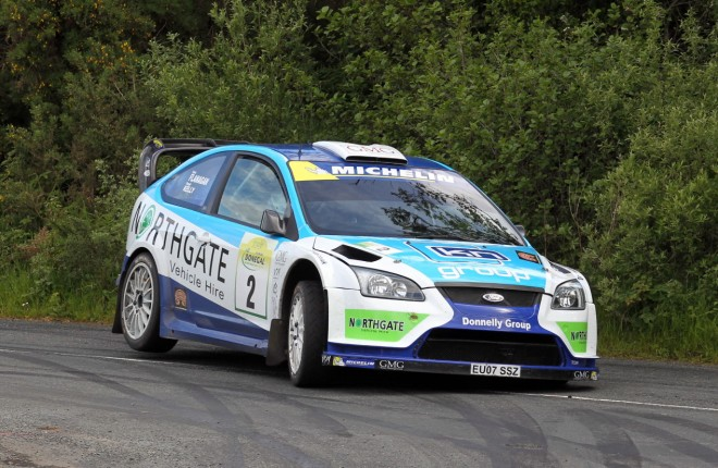 Donagh Kelly and Kevin Flanaghan on the Knockalla Stage 8 on Saturday morning. Photo: Donna El Assaad
