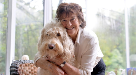 Maeve Kyle at her Ballymena home with her dog Connie. PICTURE BY STEPHEN DAVISON