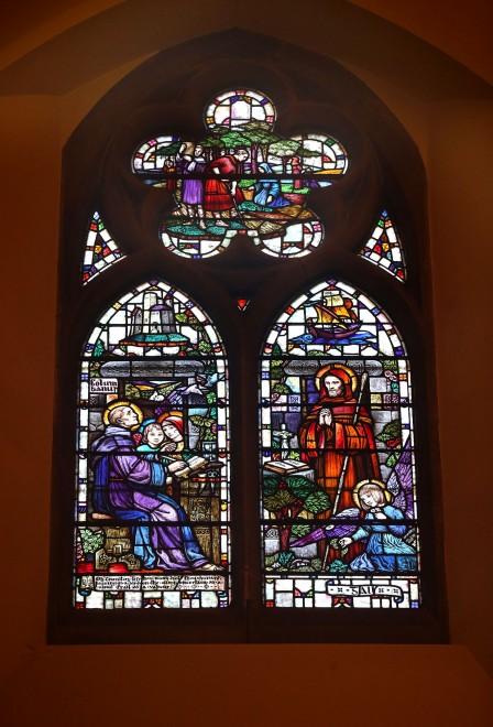 The stained glass window designed by Beatrice Elvery from the family who gave it's name to the present day Elvery's Sports chain.