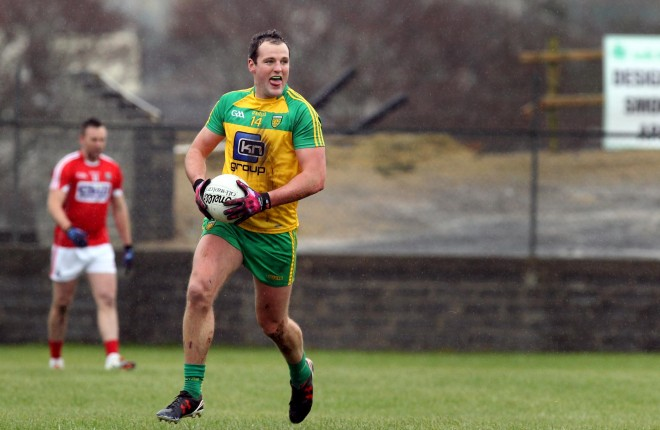 Donegal captain Michael Murphy in action against Cork at Fr Tierney Park, Ballyshannon.