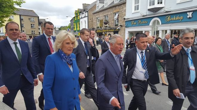 The royal couple in The Diamond, Donegal  Town with junior Minister Joe McHugh in the background