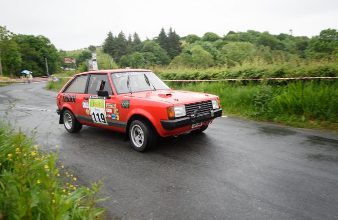 Roy Baldricka and Stacey McNutt at the Joule Donegal International Rally. Photo Clive Wasson