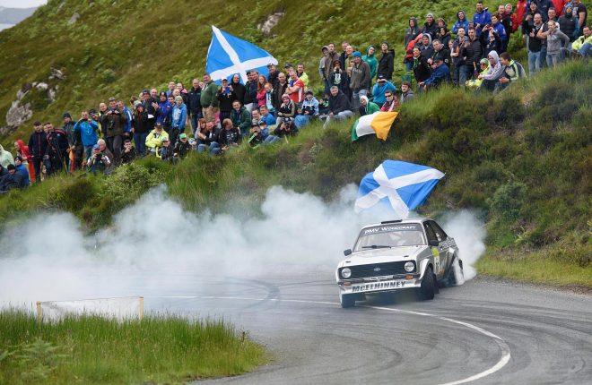 Gary McElhinney and Emmet Brosnan let rip on Knockalla in the Joule Donegal International Rally. Photo Clive Wasson