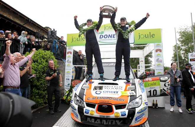 Joule Donegal International Rally 2016 champions Manus Kelly and Donall Barrett celebrate at the finish ramp. See sports pages for full coverage. Photo: Donna El Assaad