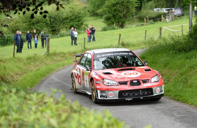Gary Jennings and Rory  Kennedy before retiring on stage 1 at3  the Joule Donegal International Rally.  Photo Clive Wasson