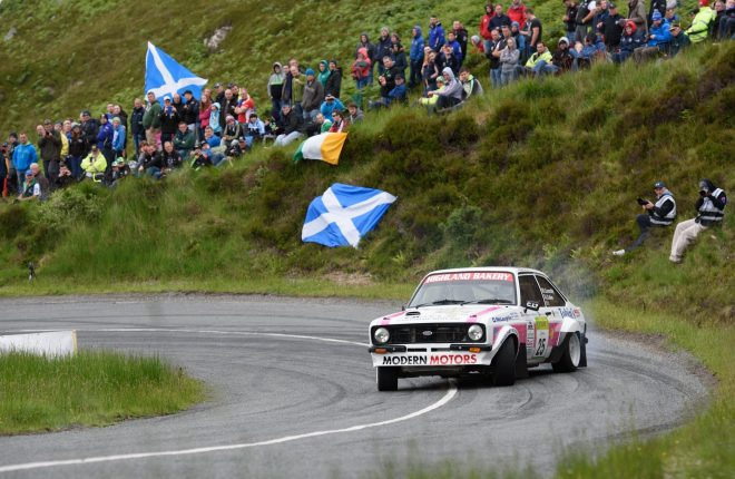 James Cullen and Damien Connolly entertain the crowds at Knockalla on the Joule Donegal International Rally. Photo Clive Wasson