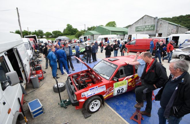 The Busy service area at the Joule Donegal International Rally.