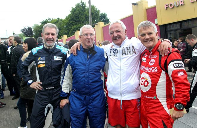 Rally men Alastair Fisher, James Cullen and Rory Kennedy with local rally fan Vincent Blake.