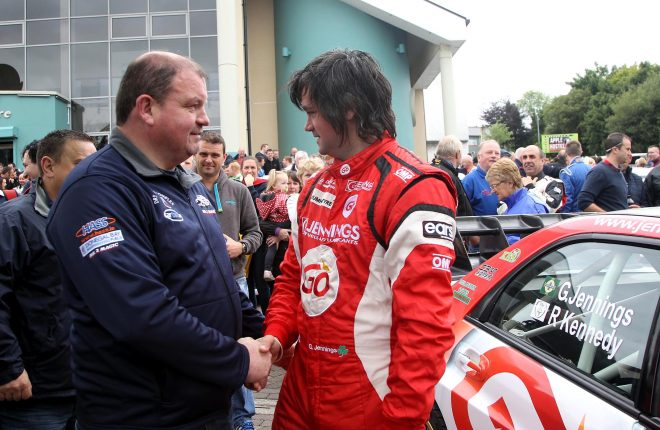 Competitors Ciaran Brogan and Garry Jennings wishing each other well at the start of the Joule Donegal International Rally on Friday.