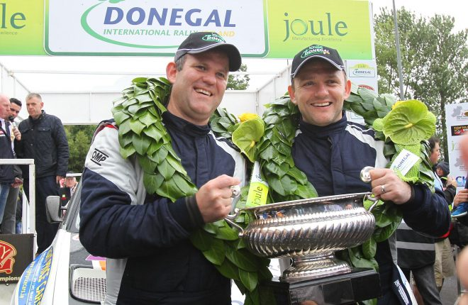 Joule Donegal International Rally 2016 champions Manus Kelly and Donall Barrett celebrate at the finish ramp. Photo: Donna El Assaad