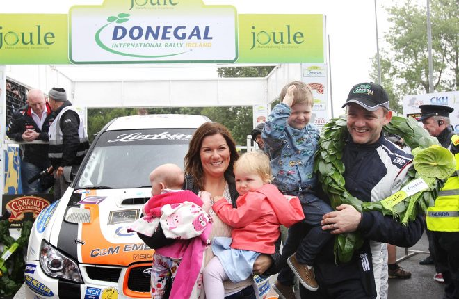 Champion Donall Barrett with his wife Richella, son Jack and daughters Naoise and Fiadh.