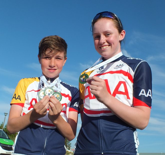 Pictured above are Adam McGeever and Clodagh Gallagher with their medals.  Photo: Tommy Curran