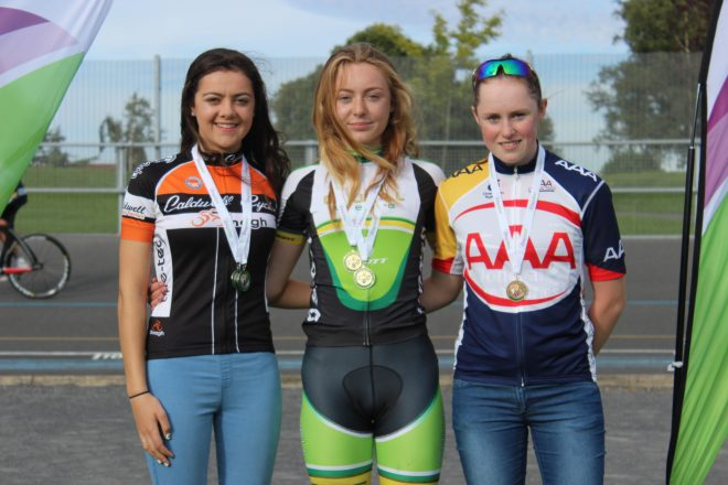 Amanda Gallagher from Dunlewey (left) came away from the National Track Cycling Championships at the Sundrive Track in Crumlim at the weekend with two silver medals and a bronze while Clodagh Gallagher (right) from Gweedore picked up a bronze medal.  They are pictured here with the winner Lara Gillespie.