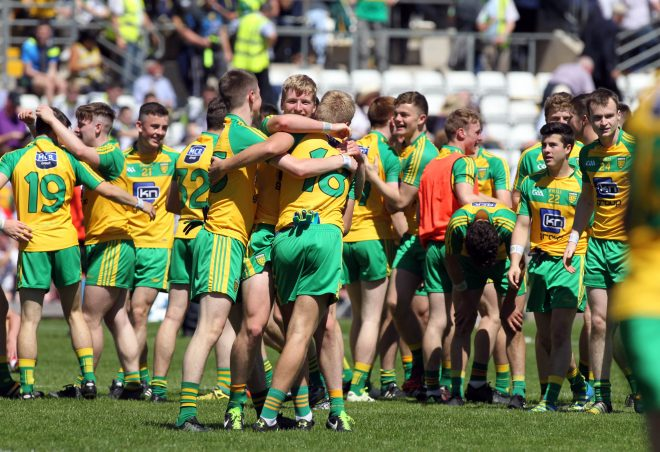 Donegal Minors celebrate winning the Ulster Championship.