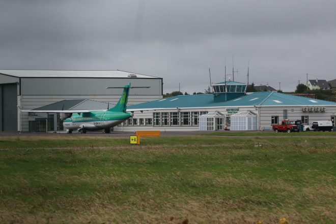 The Dublin to Donegal plane parked up at Donegal Airport on Thursday morning.